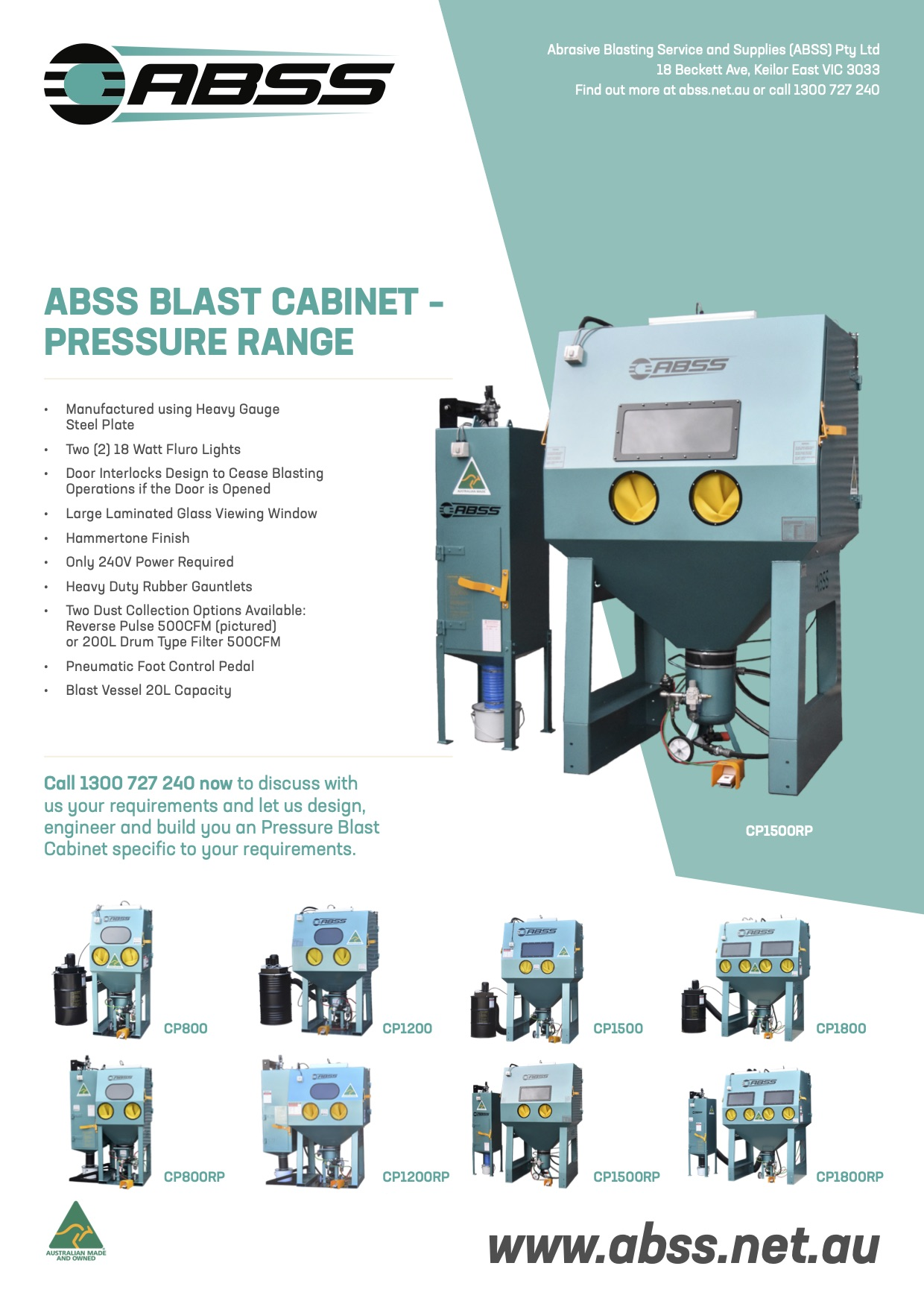 191121 ABSS Brochures A4 Blast Cabinet PRESSURE COLLECTION V2