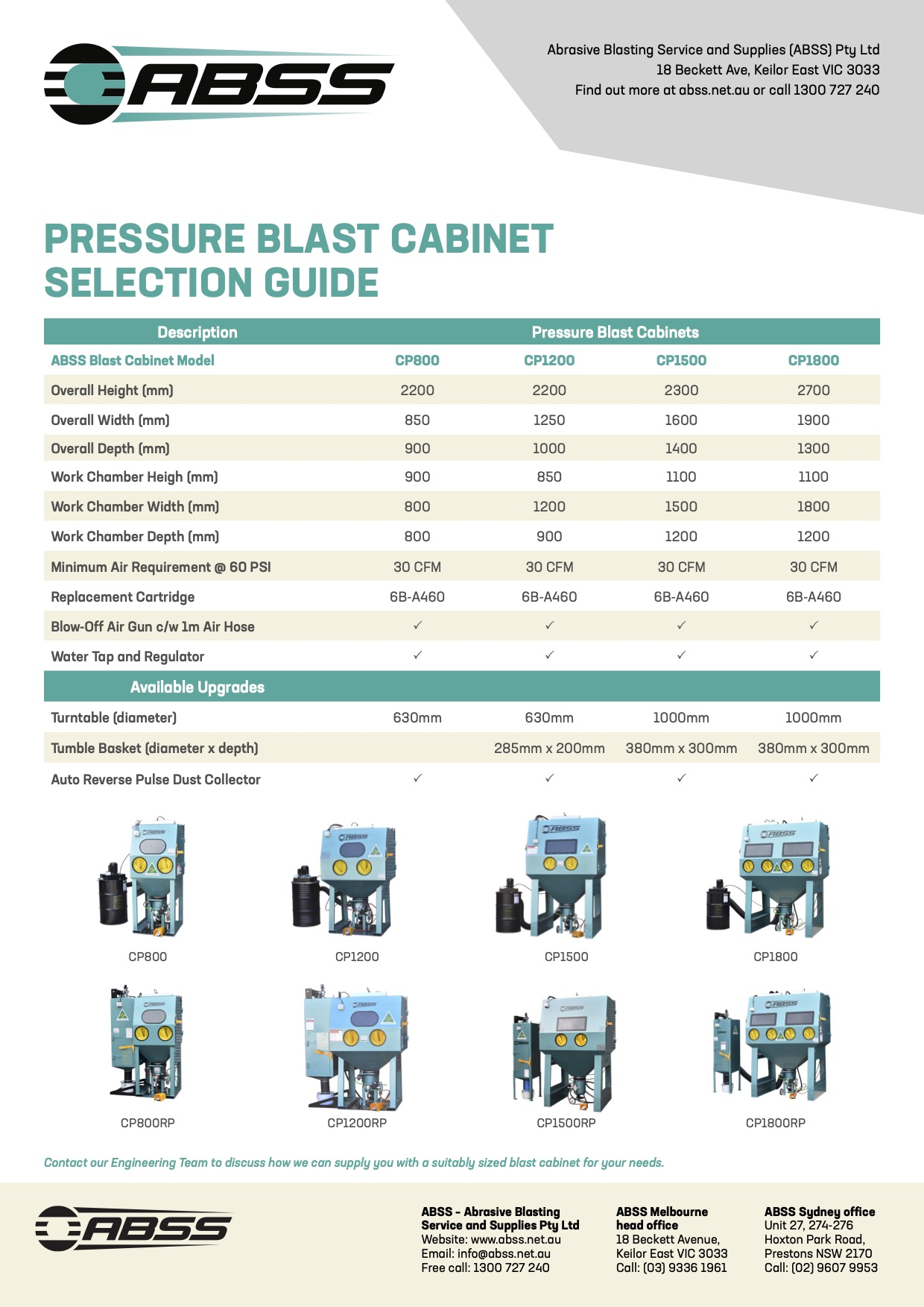 Pressure Cabinet Selection Guide 200825 ABSS Brochures A4 V2
